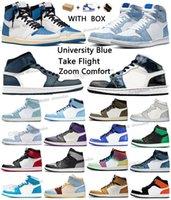 nike Air Jordan 1 Retro aj1 1s Jordans University Blue Basketball shoes High Dark Mocha Electro Orange Military UNC Light Smoke patent bred royal Pollen men women sneakers