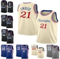 2021 VINTANGE YENİ Basketbol Joel 21 Embiid Mens Ben 25 Simmons Allen 3 Iverson Julius 6 Erving City Jersey Hızlı Kuru Nefes Boyutu S-2XL