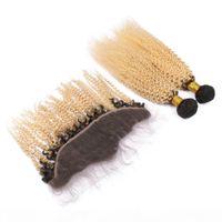 페루 금발 옴 브레 인간의 머리카락은 정면 변태 곱슬 2pcs 1b 13 금발 ombre 번들 13x4 레이스 정면 클로저와 거래