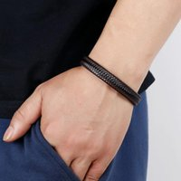Charm Bracelets 1PCS Black Retro Button Braided Classic Genuine Leather Bracelet For Men Women Accessories Jewelry Couple Bangles Gift