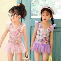 Sommar barns baddräkt prinsessa spets kjol baddräkt för baby tjejer bikinis sjöjungfru endelad baddräkt strand mode tankinis g61mqil