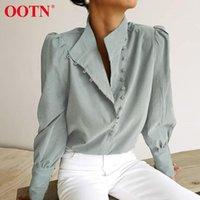 Рубашки женские блузки OOTN Элегантная водолазка блузка с длинным рукавом белая рубашка офисные дамы верхние повседневные твердые однобортные слоеные женские