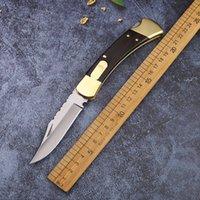 High end 110 esculpido único latão serrilhado + cabo de madeira caça de natal faca de presente ao ar livre camping de caça de caça faca de fruta EDC
