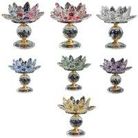 Bloqueio de vidro Lotus Flor Metal Candle Suportes Feng Shui Home Decor Big Tealight Stand Titular Castiçais