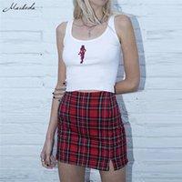 Womens Casual Rock Plaid Slim High Taille Reißverschluss Packung Hüfte Mode Damen Sexy Mini Pencil Rock Frühling Sommer Button Kurzer Minirock