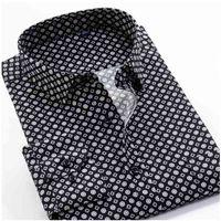 Grande tamanho 8xl 9xl 10xl vrokino marca vintage impressão floral mangas compridas homens negócio vestido casual moda camisa clássica 210331