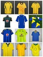 Classic 1998 Brasil Retro Soccer Jerseys 2002 2000 Camicie Carlos Romario Ronaldinho 2004 Camisa de Futebol 1991 1993 1994 Brasile 2006 1982 2010 Rivaldo Adriano