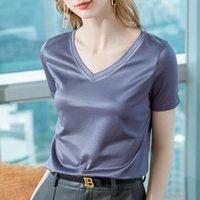 Women's T-Shirt Short Sleeve Summer Wear 2021 Light Sense Ice Silk Cotton Half Temperament V-neck