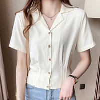Women's Blouses & Shirts Shintimes short women's blouses engraved thin button lady in office folds apricot shirt Summer tops woman chemisier clothes 3C57