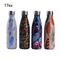 17Oz 304 Edelstahl-Koks-Flaschen-Feder-Muster tragbarer Auto-Wasser-Becher-Vakuum-Mode-Becher