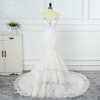 Elegant Beaded Lace Wedding Dresses Mermaid With Long Train Applique Bridal Gowns Plus Size Vestidos De Boho Dress Beach Gothic Grows