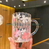 Starbucks Mugs Electroplating Color Cherry Blossom Glass Creative Flower Coffee Cup Heat-Resistant Water Cups