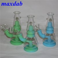 Assemble Hookahs Food Grade Glow in dark Silicone Water Pipes Percolator Bongs With bowl 4mm Quartz Banger Glass Dab Rigs Reclaim Catcher