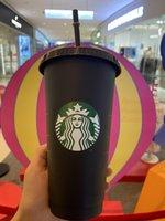 Starbucks 24oz / 710ml plástico tumbler reusável bebendo preto bebendo plana copo pilar caneca palha