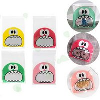 Gift Wrap 100Pcs Cute Cookie Candy Bag Biscuit Bags Monster Self Adhesive Bakery Baking Package Party Supplies