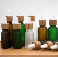 30ml mattierte klare Tropfflasche mit Bambusdeckelkappe ätherische Ölglasflaschen Frost grüne Parfümfläschchen FWF6582