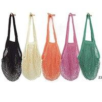 Malha sacos reutilizável algodão saco de compras de cordas de shopping de shopping vegetal portátil reusável lavável hwb8560