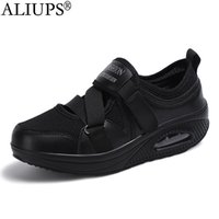 Tennis shoes ALIUPS Women Shoes Breathable Mesh Height increasing Non slip Footwear Outdoor Walk Sneakers Thick Bottom Platform 0911