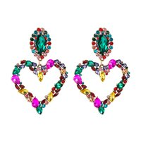 Dangles Heart Stud Earrings Colorful Baroque Iced Out Bling Rhinestone Girls Big Statement Street Party Fashion Brand Drop Earring GWA5709