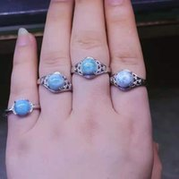 Cluster Rings Natural Larimar Stone Ring Blue Woman Jewelry Fashion Anillos Mujer Ringen Bijoux Femme Attracts Eyes Aliança De Namoro