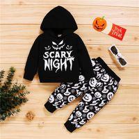 Clothing Sets 2Pcs Kids Halloween Tracksuit Letters Hooded Long Sleeve Sweatshirt + Pumpkin Print Pants For Boys Girls 1-4 Years