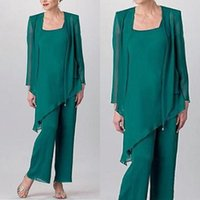 Hunter Green Mother Of The Bride Pant Suit Simple Chiffon Long Sleeve Custom Made Wedding Guest Dresses