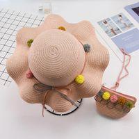 Hair Accessories Girls Summer Ball Decoration Wavy Straw Hat For Children Panama Kids Sun Cap Baby Beach Hats