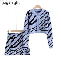 Gaganight вязаный свитер из двух частей набор женщин с длинным рукавом Zebra Striped Cardigan Top и Mini Bodycon юбка повседневные женщины наряды 210519