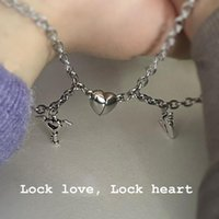 Charm Bracelets 1Pair Couple Magnetic Bracelet Heart Shaped Stainless Steel Angel Wing Lock Love Magnet Jewelry Gifts