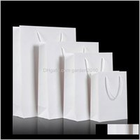 Упаковочные коробки Белый Kraft с подарком ручки для свадьбы Party Party Paper Paper Bapy Boy Bag Sokl7 LQERX