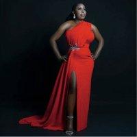 Red Long South African Prom Vestidos de dama de honor de un hombro Slit Slit Apliques Satin Black Women Fiesta Vestido de fiesta más tamaño vestido de noche