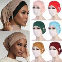 Шапки / черепные колпачки 2021 лбовый Bandana Hat Cross Toe женщины мода мусульманский этнический стиль хиджаб сплошной цвет шансов арабский Дубай исламский