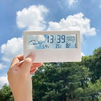 아이들을위한 데스크탑 디지털 알람 시계 머리맡의 가정 학생 투명한 습도 온도 시계 OWD10254