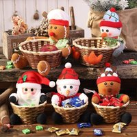NEWMerry Christmas Candy Rattan Basket Christmas Decorations Snowman Santa Claus Fruit Baskets Food Holder Lovely Home Decor Sea way ZZA7560