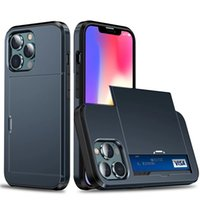 Armor Slide Slot Phone Case For iPhone 13 12 11 Pro Max XR XS X 7 8 Plus Shockproof Card Bag Cover