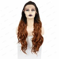 Synthetic Wigs Rebcass Lace Front Wig Durable High Tempereature Ombre Brown With Ponytail For African American Women