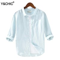 Y&CHIC Men' s Relaxed Fit 3 4 Sleeve 100% Linen Shirt Ca...