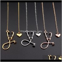Halsketten Stethoskop Lariat Herz Anhänger 3 Farben Rose Goldgoldsir Est Krankenschwester Medizinische Halskette QMPUC R9U1E