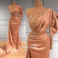 Party Dresses Arabic Blush Pink Mermaid One Shoulder Evening Dress Long Sleeve 2021 Luxury Dubai Crystal Formal For Wedding Gown