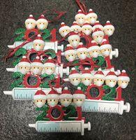 2021 Decoración navideña adornos de cuarentena Regalo Familia de 1-7 cabezas DIY DIY Máscara de árbol Jeringa Dibujos animados Colgante Accesorios Artesanía con cuerda
