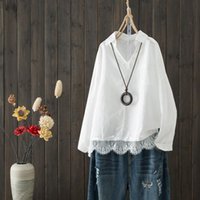 Spring Black White Solid Elegant Shirt Long Sleeve Fashion Stitched Lace Tops Leisure Cotton Linen Womens Blouse All-Match Blusa Women's Blo