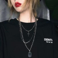 Pendant Necklaces 2021 Fashion Personality Cross Square Multilayer Hip Hop Long Chain Cool Simple Necklace For Women Men Jewelry Gifts