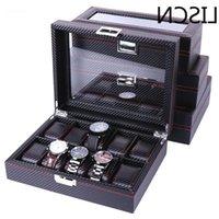 6 High 5 Carbon Fiber 10 12 Grid Watch Boxes Display Storage Bracelet Slots Case holder Container1