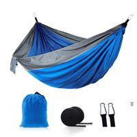 Camping Hammocks com mosquito Net Double Leve Nylon Hammock Home Quarto Lazy Swing Cadeira Praia Campeeiro Backpacking Sea Owc7539