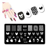 Stainless Steel Cartoon Face Nail Art Templates Stamping Plates Little Hand Nails Stamp Long Dress Princess Design Cute Ear Manicure DIY Accessories Tools