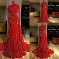 2021 Sexy Bling Dark Red Sequined Lace Evening Dresses Wear One Shoulder Long Sleeves Party Dress Side Split Sequins Celebrity Dresses Prom Gowns Empire Waist