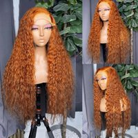Ginger Orange Colored Curly Lace Front Human Hair Wigs 360 Frontal Wig for Black Women Pre Plucked Babyhair Remy full lacewigs 13x6lace