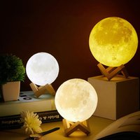 Floor Lamps Children's Night Light 3D Print Moon Lamp Battery Powered With Stand Starry 7 Color Bedroom Decor Creative Gift