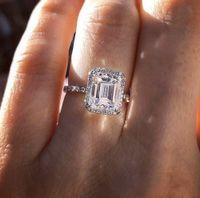 Luxus 925 Sterling Silber Smaragdschnitt Simulierte Diamant Hochzeit Engagement Cocktail Frauen Bands Ringe Set Fine Schmuck Geschenk