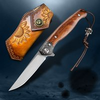 M390 steel folding knife sand iron wooden handle with leather case outdoor survival camping portable pocket knife EDC self-defense tool